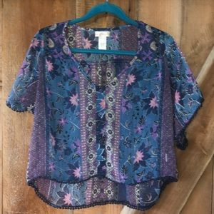 Band of Gypsies boho crop top size small